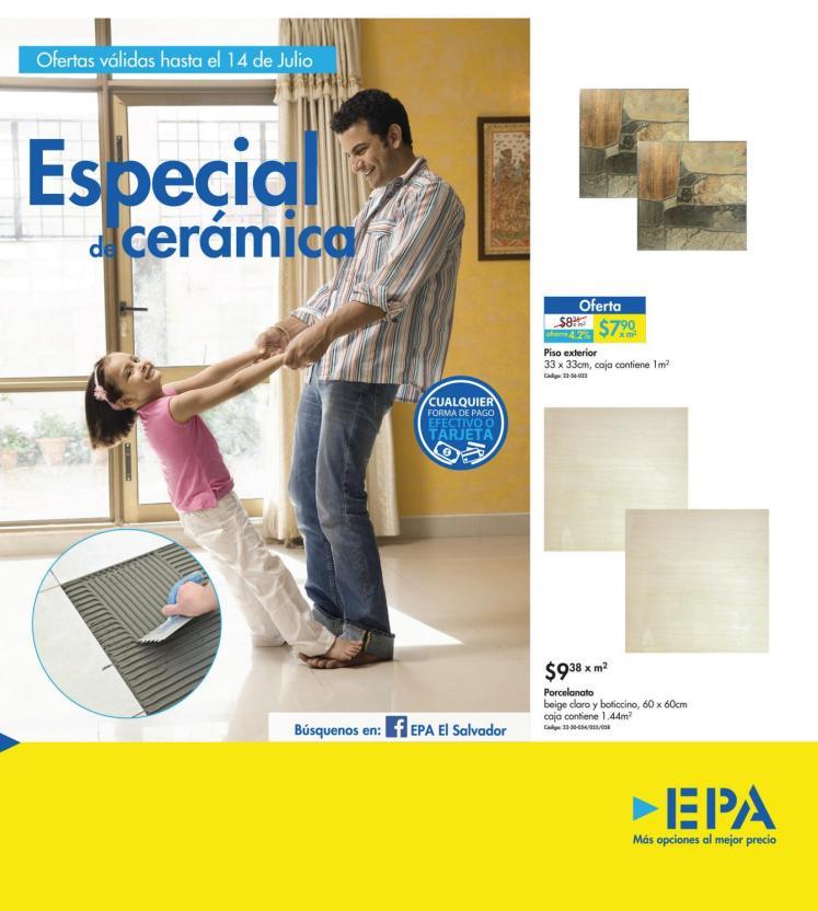Primer folleto de Julio 2016 - Promociones del especial de ceramica EPA elsalvador