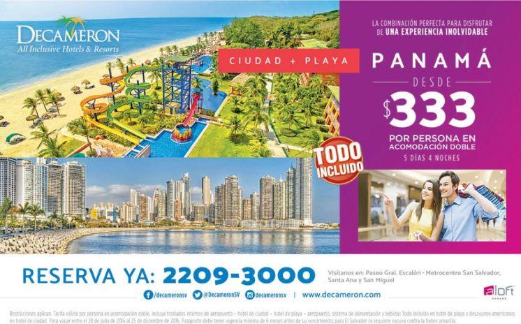 VIAJE a panama ciudad mas playa DECAMERON all inclusive