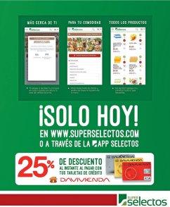 Compras online SUPERSELECTOS con 25 off con Banco Davivienda