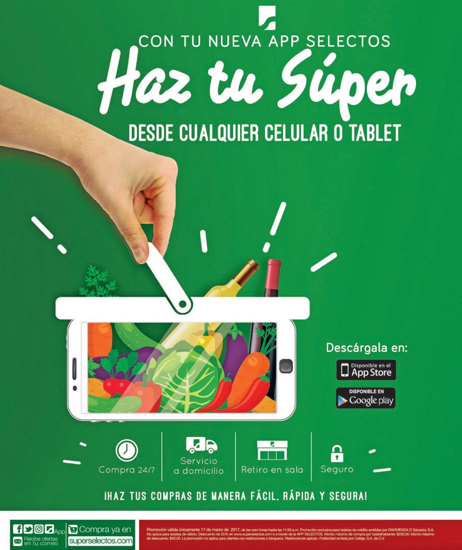 Descarga la nueva APP super selectos para comprar desde cualquier tablet o telefono