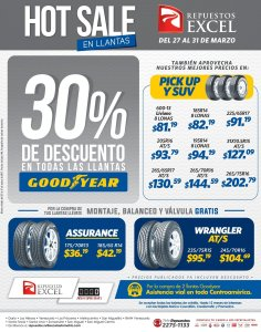 HOT SALE en llantas marca GOOD YEAR - marzo 2017