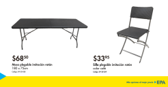 promocion mesas y sillas plegables para tus reuniones
