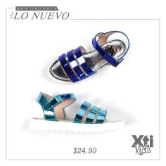 sandals for girls metallic blue and green