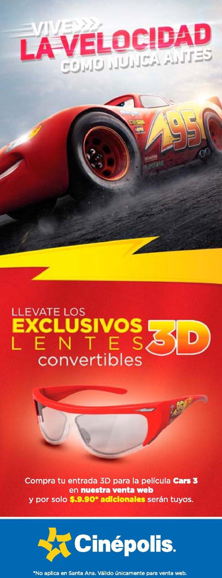 cinepolis Lentes 3D exclusivos de la pelicula CARS 3