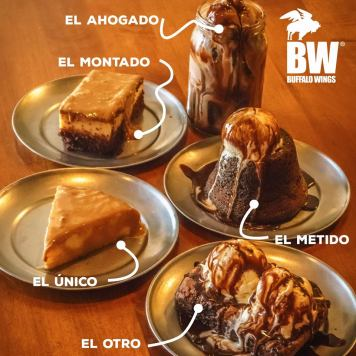 MENU de postres en restaurante buffalo wings el salvador