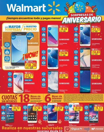 SMART PHONES WOW promociones de aniversario WALMART - 14jul17