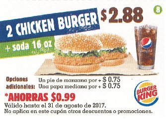 CUPON Burger King el salvador - 2 chiken burger mas soda 16 oz - agosto 2017