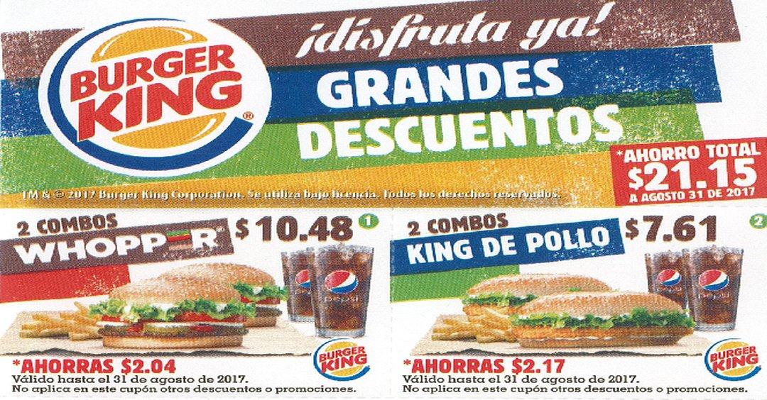 Ahorro con los CUPONES Burger King - (Agosto 2017)