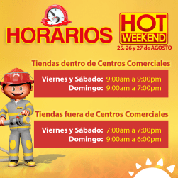 HORARIOS de atencion en la curacao hot weekend agosto 2017