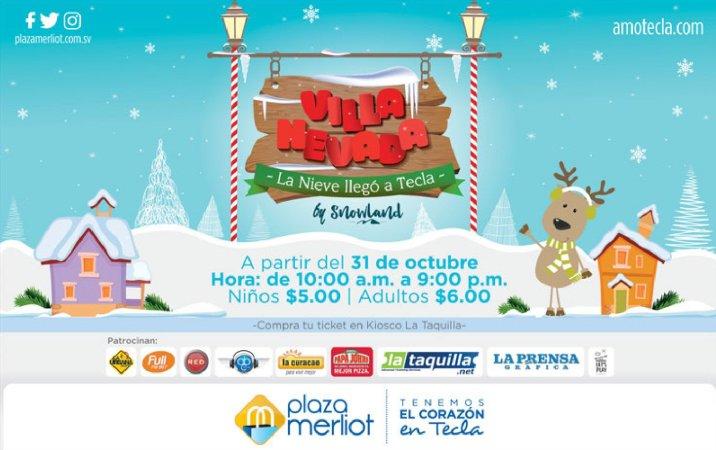 VILLA NEVADA la nieve llego a santa tecla 2017 plaza merliot