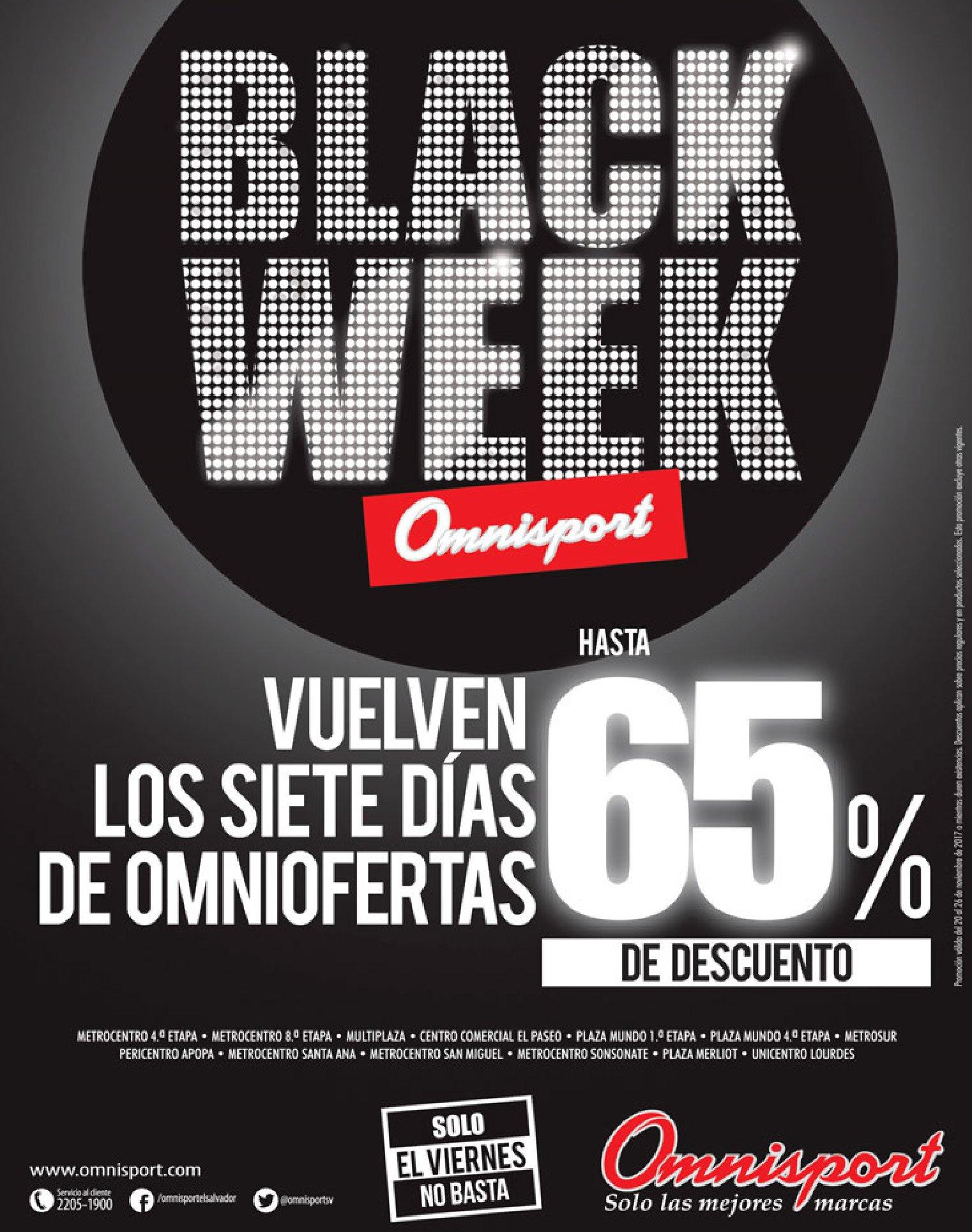 Black Friday 2017 Almacenes OMNISPORT el salvador
