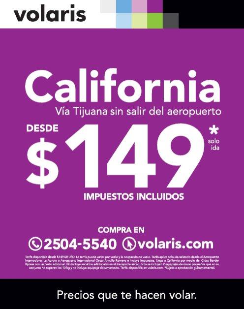Comprar boleto a CALIFORNIA via Tijuana con VOLARIS
