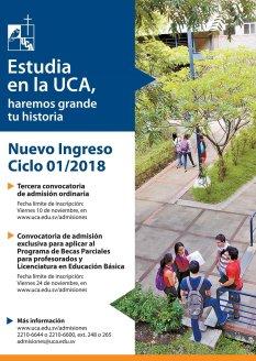 Incripcion 2018 en la Universidad Centroamerica Jose Simeon Cañas UCA