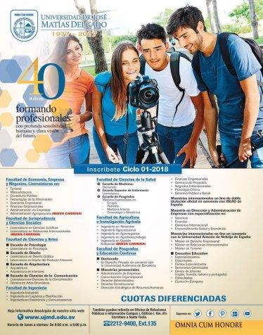 Incripcion 2018 en la Universidad Doctor Jose Matias Delgado UJMD