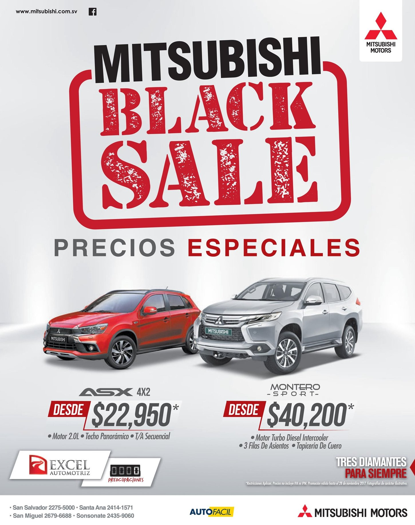 MITSUBISHI Black Friday sale 2017 modelos ASX 4x2 y Montero Sport