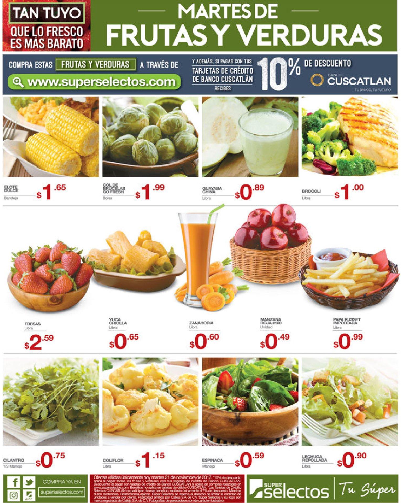 frutas y verduras baratas este martes 21nov17