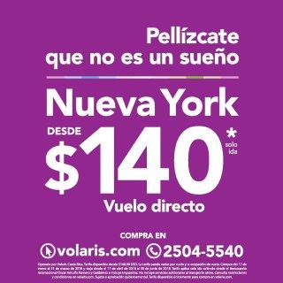 Nuevo destino VOLARIS Nueva York vuelo directo por 140 dolares