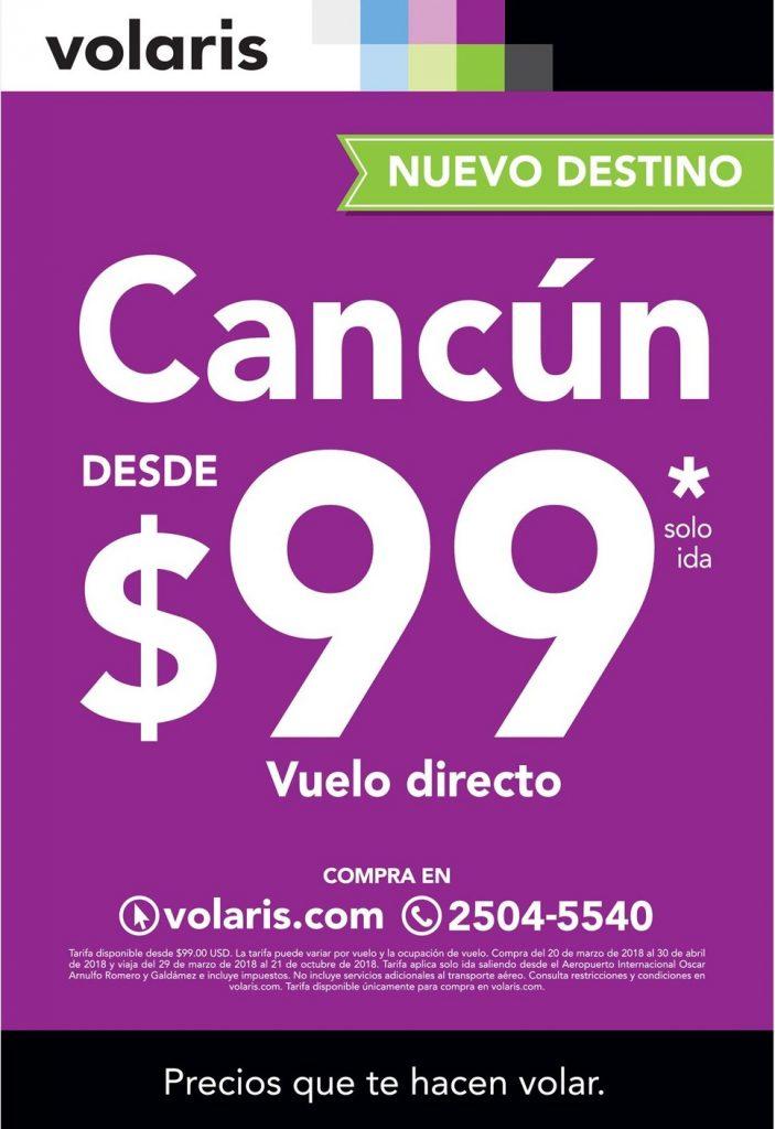 Nuevo destino VOLARIS viaja a CANCUN por solo 99 dolares