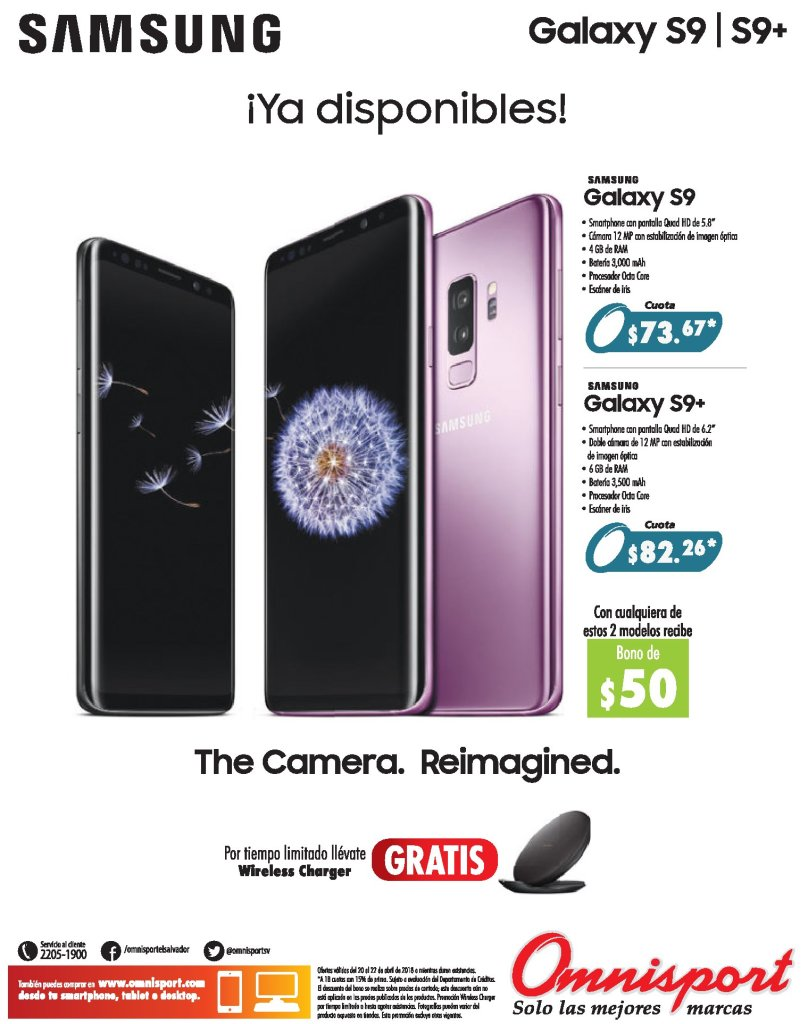 SAMSUNG Galaxy S9 disponible en omnisport el salvador