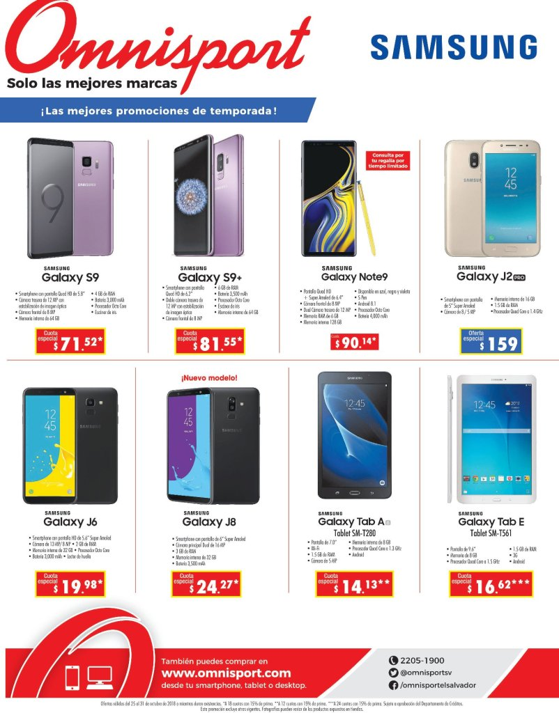 Omnisport Linea de celulares SAMSUNG GALAXY
