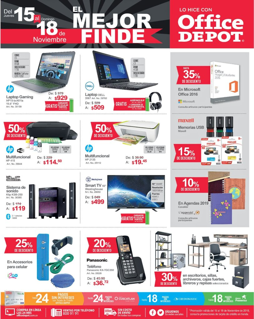 Ofertas Black Friday 2018 Office Depot el salvador