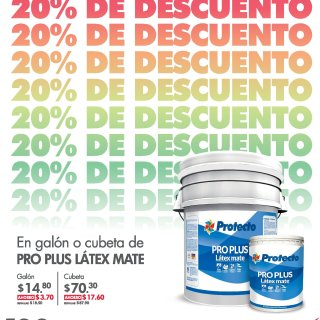 Pinturas PROTECTO PRO PLUS LATEX MATE via VIDRI