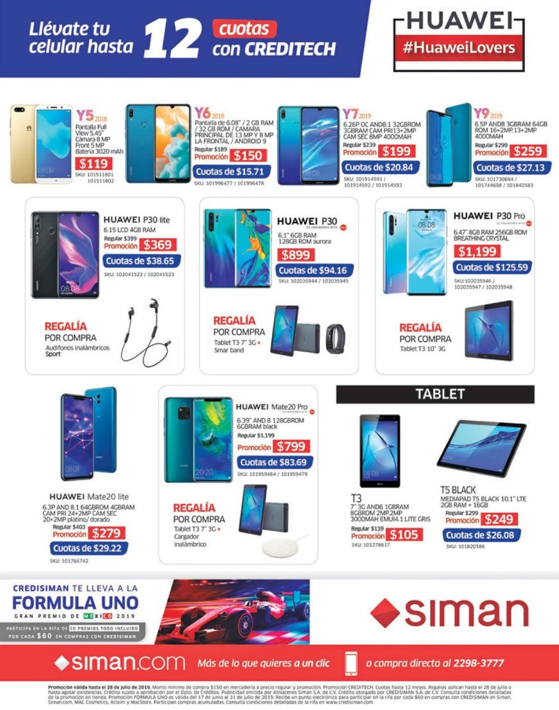 Credito para comprar celulares HUAWEI lovers SIMAN