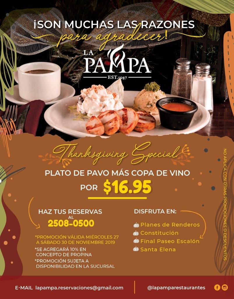 Menu LA PAMPA thanksgiving day 2019 special