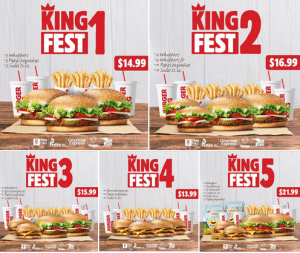 💥¡¡KING FEST!!💥  Combos familiares Burger King SV