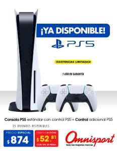 Precio de consola PS5 en almacenes omnisport el salvador 2021