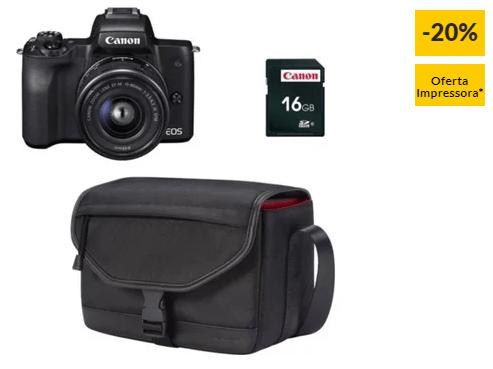 Kit Máquina Fotográfica Mirrorless CANON M50 + 15-45 mm (24.1 MP – Sensor: APS-C – ISO: 100 a 51200)
