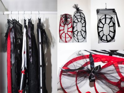 cage skirts hanging in wardrobe