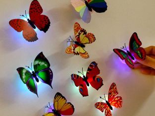153D Butterfly Wall Stickers & LED LIGHT Decals Home Decor Room 10pcs