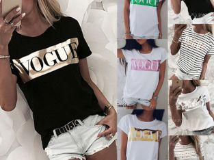 Women Short Sleeve Loose T Shirts Fashion Summer Casual Blouse Tops Shirt US