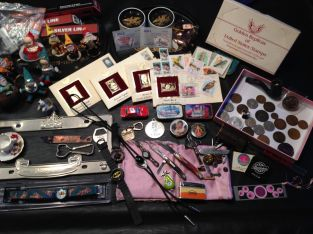 Junk Drawer lot watches, Silver, Coins, Gold Stamps, military medals, knives