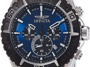 Invicta Men's 22526 Aviator Chronograph 49mm Blue Dial Stainless Steel Watch