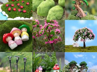 Lot Kids Miniature Fairy Garden Ornaments Decor Pot Craft Accessories Dollhouses