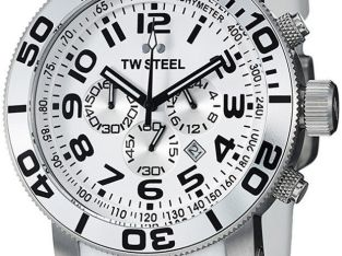 TW Steel Men's Watch TW95 Grandeur Chronograph White Rubber Strap White Dial