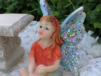 Miniature Dollhouse FAIRY GARDEN Accessories ~ Sitting Girl BLUE Glitter Wings