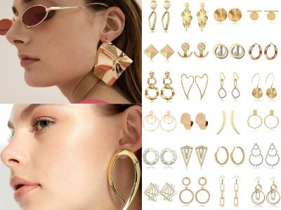 2018 Fashion Large Circle Geometry Metal Earring Ear Stud Earrings Women Jewelry