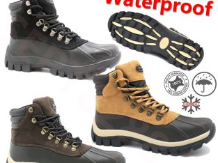 New Winter Snow Boots Men's Work Boots Shoes Leather Lace Up Waterproof 2017