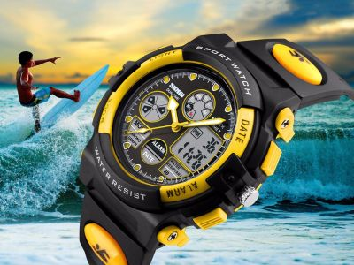 SKMEI Kids Boys Girls Waterproof Alarm Silicone Sport LED Digital Wrist Watch US