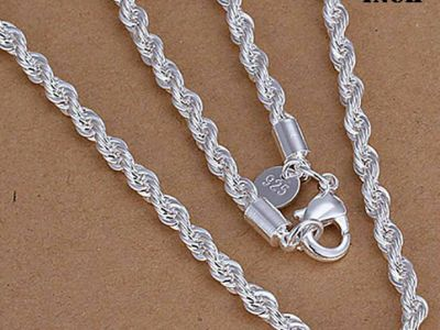 925 Sterling Silver 3,4,5MM Twisted Rope Chain Necklace 16″ – 24″ Mens Womens