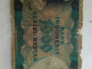 Antique Indonesia Note 1000 Rupiah, Year 1975