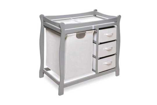 Badger Sleigh Changing Table with Hamper