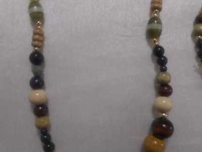 handmade necklace with matching bracelet and earrings
