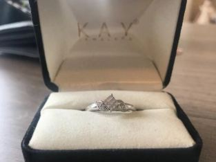 14k White Gold Diamond Ring, Size 6