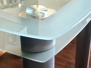 Frosted Glass Coffee Table/ Media Console plus 2 Side Tables