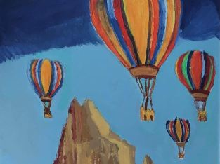 New Mexico Hot Air Balloon – 11″ x 14″ Canvas Painting