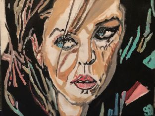 """Lisa Marie Presley 8 GG – 11"""" x 14"""" Canvas Painting"""